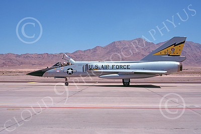 F-106AUSAF 00097 A taxing Convair F-106A Delta Dart USAF 90015 5th FIS SPITTEN KITTENS Nellis AFB 7-1979 military airplane picture by Michael Grove, Sr