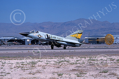 F-106AUSAF 00115 A landing Convair F-106A Delta Dart USAF 90093 5th FIS SPITTEN KITTENS Nellis AFB 7-1979 military airplane picture by Michael Grove, Sr