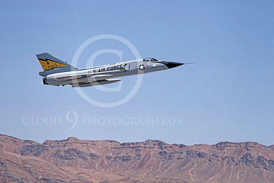 F-106AUSAF 00098 A flying Convair F-106A Delta Dart USAF 90015 5th FIS SPITTEN KITTENS Nellis AFB 7-1979 military airplane picture by Michael Grove, Sr