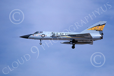 F-106AUSAF 00100 A landing Convair F-106A Delta Dart USAF 90105 5th FIS SPITTEN KITTENS 7-1979 military airplane picture by Michael Grove, Sr