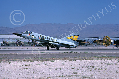 F-106AUSAF 00099 A landing Convair F-106A Delta Dart USAF 90025 5th FIS SPITTEN KITTENS Nellis AFB 7-1979 military airplane picture by Michael Grove, Sr