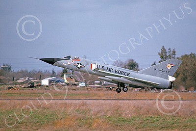 F-106AUSAF 00093 A landing Convair F-106A Delta Dart USAF 90049 84th FIS BLACK PANTHERS McClellan AFB 3-1975 military airplane picture by Peter B Lewis