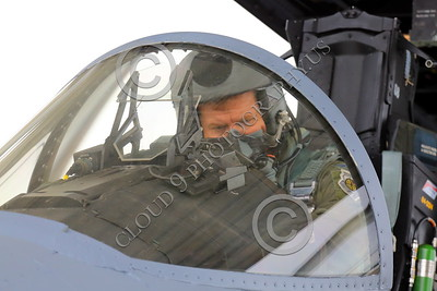 ACM 00105 A California ANG F-15 Eagle jet figher pilot studies his instruments as he powers up his airplane, by Peter J Mancus