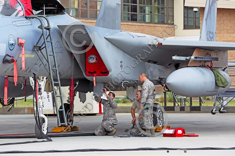 ACM 00145 Three California ANG airman work on a F-15 Eagle jet fighter at Fresno ANG base 3-2015 military airplane picture by Peter J Mancus