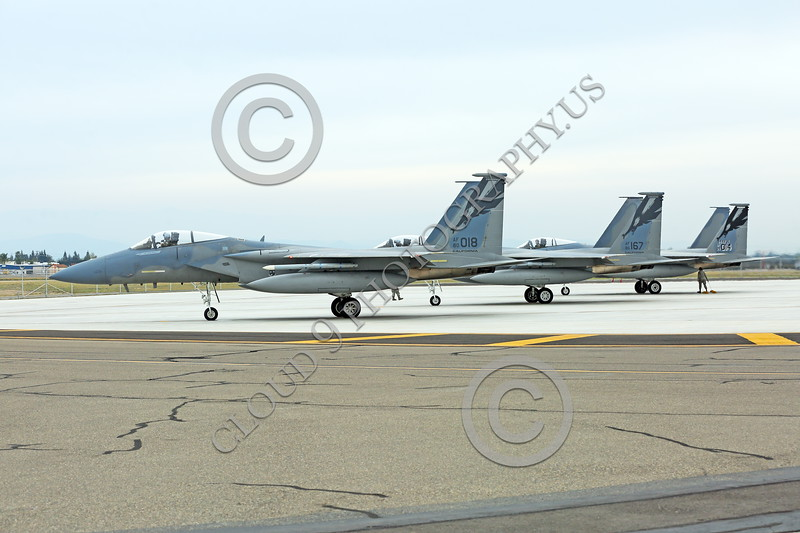 F-15ANG 00017 Three McDonnell Douglas F-15 Eagle jet fighters California ANG 144 FW at EOR for final check before take-off at Fresno ANG base 3-2015 military airplane picture by Peter J Mancus