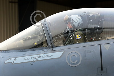 ACM 00083 Portrait of a California ANG F-15 Eagle jet figher pilot in his cockpit as he taxis for a training mission, by Peter J Mancus