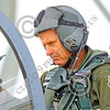 ACM 00098 A highly experienced California ANG F-15 Eagle jet figher pilot studies his instruments as he powers up his airplane, by Peter J Mancus