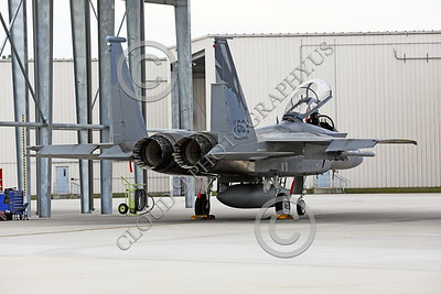 F-15ANG 00055 A static McDonnell Douglas F-15 Eagle jet fighter California ANG 81062 144 FW under a metal shelter at Fresno ANG base 3-2015 military airplane picture by Peter J Mancus