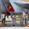 ACM 00175 Three California ANG airman work on a F-15 Eagle jet fighter at Fresno ANG base 3-2015 military airplane picture by Peter J Mancus