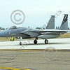 F-15ANG 00061 A McDonnell Douglas F-15 Eagle jet fighter California ANG 84014 144 FW commanding officer's airplane taxis for take-off at Fresno ANG base 3-2015 military airplane picture by Peter J Mancus