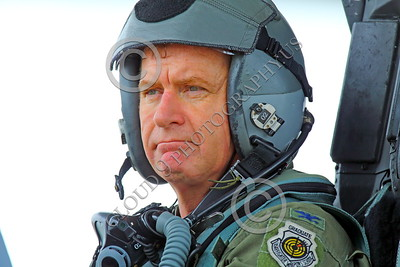 ACM 00054 A full colonel California ANG F-15 Eagle jet fighter pilot in his cockpit, portrairt by Peter J Mancus