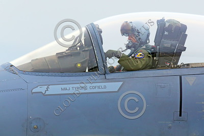 ACM 00085 The weight of the targeting visor on this California ANG F-15 Eagle jet figher pilot's helmet causes cervical neck pain, by Peter J Mancus