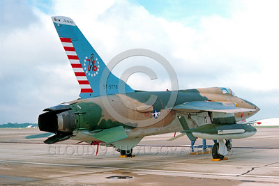 BIC-F-105ANG 00001 A static Republic F-105B Thunderchief New Jersey ANG fighter-bomber bicentennial markings 5-1976 McGuire  AFB military airplane picture by David Ostrowski  DONEwt