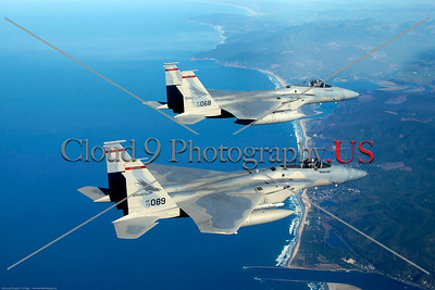 F-15-ANG-OR 001 Two flying McDonnell Douglas F-15 Eagle air supremacy jet fighers Oregon ANG, 142nd FW REDHAWKS, official Oregon ANG picture produced by Cloud 9 Photography     Dt