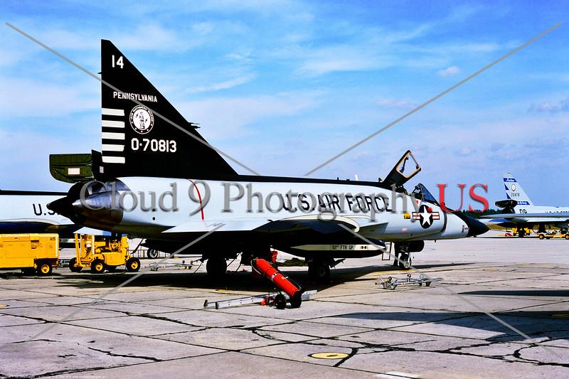 F-102A-ANG-PA 001 A static Convair F-102A Delta Dagger Pennsylvania ANG anti-bomber interceptor 0-70813 112th FTR GP Tyndall AFB 10-1974 by Stephen W  D  Wolf     BBB_3225     DWT