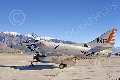 A-4USMC 00121 A static Douglas A-4C Skyhawk USMC 145131 VMA-134 SMOKE Hill AFB 13 10-1973 military airplane picture by Michael Grove, Sr