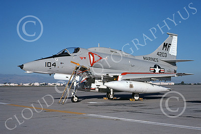 A-4USMC 00297 A static Douglas A-4 Skyhawk USMC 154203 VMA-134 NAS Alameda 7-1976 military airplane picture by Michael Grove, Sr