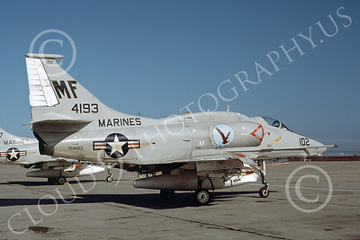 A-4USMC 00157 A static Douglas A-4F Skyhawk USMC 154193 VMA-134 NAS Alameda 6-1979 military airplane picture by Michael Grove, Sr mm