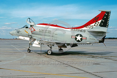 BIC-A-4USMC 00001 A static colorful Douglas A-4F Skyhawk USMC 154209 VMA-142 FLYING GATORS MB code Jacksonville 12-1976 military airplane picture by Peter B Lewis     DONEwt copy