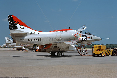 A-4USMC-VMA-142 0001 A static Douglas A-4L Skyhawk attack jet USMC 148505 VMA-142 FLYING GATORS BICENTENNIAL NAS Jacksonville 7-76 military airplane picture by R E Kling     DONEwt