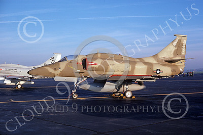 A-4USMC 00335 A static USMC Douglas A-4F Skyhawk attack jet 154976 VMA-142 FLYING GATORS 11-1977 military airplane picture by J E Rotramel