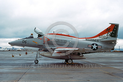 A-4USMC-VMA-142 0005 A static Douglas A-4F Skyhawk USMC 155022 VMA-142 FLYING GATORS NAS Alameda 8-1976 military airplane pictures by L B Sides     DONEwt copy