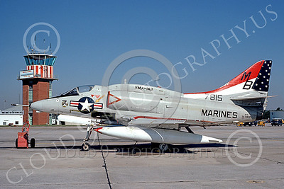 A-4USMC 00449 A static Douglas A-4L Skyhawk USMC 147815 VMA-142 FLYING GATORS Dobbins AFB 11-1976 military airplane picture by L B Sides