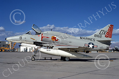 A-4USMC 00455 A static Douglas A-4M Skyhawk USMC 158162 VMA-324 VAGABONDS NAS China Lake 3-1973 military airplane picture by Bob La Bouy