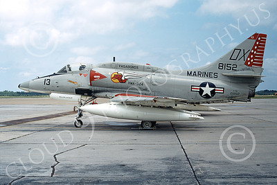 A-4USMC 00097 A static Douglas A-4M Skyhawk USMC 158152 VMA-324 VAGABONDS MCAS Beaufort 5-1974 military airplane picture by Ryan Hayes