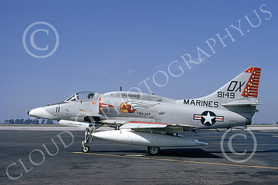 A-4USMC 00119 A static Douglas A-4M Skyhawk USMC 158149 VMA-324 VAGABONDS 3-1974 military airplane picture by Michael Grove, Sr