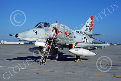 A-4USMC 00069 A static Douglas A-4 Skyhawk USMC 158160 VMA-324 VAGABONDS NAS Moffett 3-1974 military airplane picture by Michael Grove, Sr