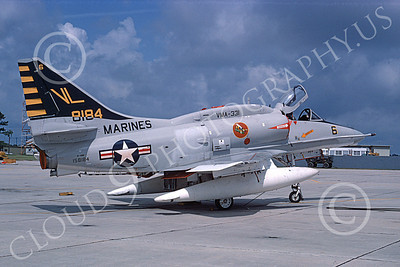 A-4USMC 00351 A static Douglas A-4M Skyhawk USMC 158184 VMA-331 BUMBLEBEES MCAS Beaufort 6-1975 military airplane picture by Taylor Collins