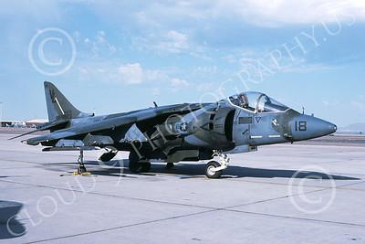 AV-8B-USMC 00031 A static McDonnell Douglas AV-8B Harrier USMC VL code VMA-331 BUMBLEBEES MCAS Yuma 9-1988 airplane picture by Kevin L Patrick