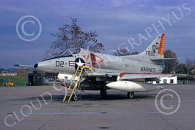 A-4USMC 00203 A static Douglas A-4 Skyhawk USMC 147835 VMA-131 DIAMONDBACKS 3-1974 military airplane picture by Michael Grove, Sr
