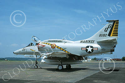 A-4USMC 00251 A static Douglas A-4N Skyhawk USMC 158182 VMA-131 DIAMONDBACKS 5-1998 military airplane picture by Michael Grove, Sr