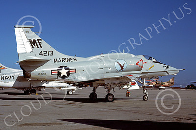 A-4USMC 00361 A static Douglas A-4F Skyhawk USMC 154213 VMA-131 DIAMONDBACKS 6-1979 airplane picture by Michael Grove, Sr bvn