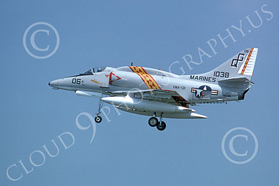 A-4USMC 00030 A landing Douglas A-4 Skyhawk USMC 151038 VMA-131 DIAMONDBACKS 9-1975 military airplane picture by Michael Grove, Sr