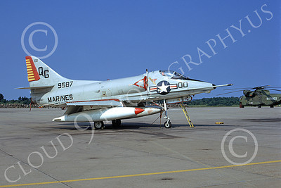 A-4USMC 00349 A static Douglas A-4C Skyhawk USMC 149587 VMA-131 DIAMONDBACKS 8-1974 military airplance picture by Michael Grove, Sr