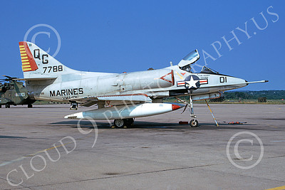 A-4USMC 00117 A static Douglas A-4 Skyhawk USMC 147788 VMA-131 DIAMONDBACKS 8-1974 NAS Alameda airplane picture by Michael Grove, Sr