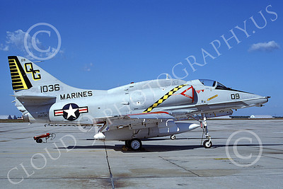 A-4USMC 00355 A static Douglas A-4 Skyhawk USMC 151036 VMA-131 DIAMONDBACKS 10-1981 military airplane picture by Michael Grove, Sr