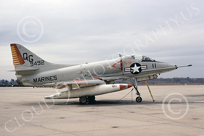 A-4USMC 00339 A static Douglas A-4C Skyhawk USMC 149492 VMA-131 DIAMONDBACKS 3-1974 military airplane picture by Michael Grove, Sr