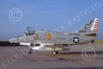 A-4USMC 00080 A USMC Douglas A-4M Skyhawk, 158194, attack jet, VMA-211 AVENGERS, MCAS El Toro 6-1973, airplane picture, by Michael Grove, Sr