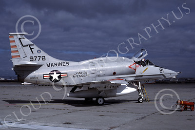 A-4USMC 00074 A USMC Douglas A-4M Skyhawk, 159778, attack jet, VMA-211 AVENGERS, NAS Alameda 10-1981, airplane picture, by Michael Grove, Sr
