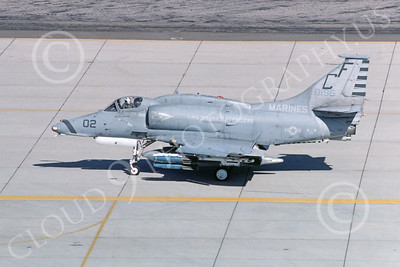 A-4USMC 00068 A USMC Douglas A-4M Skyhawk, 158196, attack jet, VMA-211 AVENGERS, MCAS Yuma 6-1985, airplane picture, by Peter J Mancus