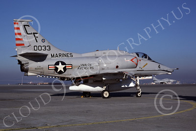 A-4USMC 00098 A USMC Douglas A-4M Skyhawk, 160033, attack jet, VMA-211 AVENGERS, NAS Alameda 1-1982, airplane picture, by Michael Grove, Sr