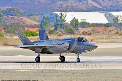 F-35B-VMFA-211 00009 A Lockheed Martin F-35B Lightning II USMC 168339 stealth jet fighter VMFA-211 AVENGERS CF code take-off roll MCAS Miramar 9-2016 military airplane picture by Peter J  Mancus
