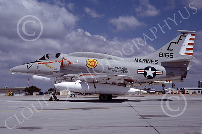 A-4USMC 00082 A USMC Douglas A-4M Skyhawk, 158165, attack jet, VMA-211 AVENGERS, 4-1978, airplane picture, by Michael Grove, Sr