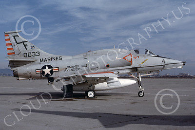A-4USMC 00076 A USMC Douglas A-4M Skyhawk, 160033, attack jet, VMA-211 AVENGERS, NAS Alameda 10-1982, airplane picture, by Michael Grove, Sr