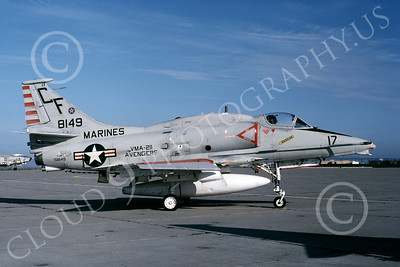 A-4USMC 00066 A USMC Douglas A-4M Skyhawk, 158149, attack jet, VMA-211 AVENGERS, NAS Alameda 9-1982, airplane picture, by Michael Grove, Sr