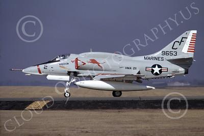 A-4USMC 00096 A USMC Douglas A-4E Skyhawk, 149653, attack jet, VMA-211 AVENGERS, Yokota AB 4 Feb 1973, airplane picture, by N Nishimura